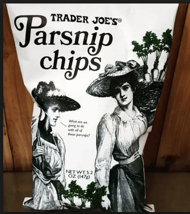 This image is a bag of the PCOS Friendly Snacks - Trader Joes Parsnip Chips