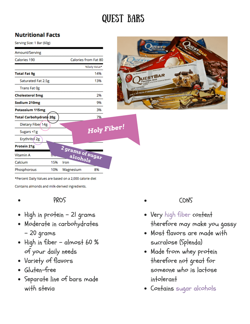 This is an image which displays the nutrition facts for a quest protein bar. Highlighted on this particular image is the fact that the bar contains a moderate amount of protein and high amount of fiber. Also highlighted in this image of the nutrition label is the fact that bar contains sugar alcohols.